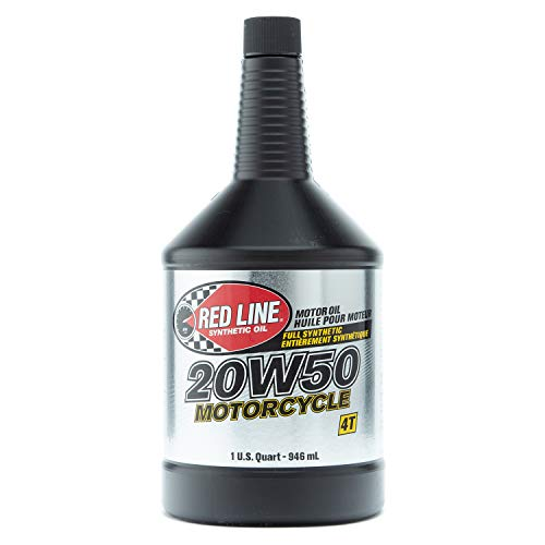 Red Line 42504 20W-50 Motorcycle Oil - 1 Quart Bottle, 4 Pack