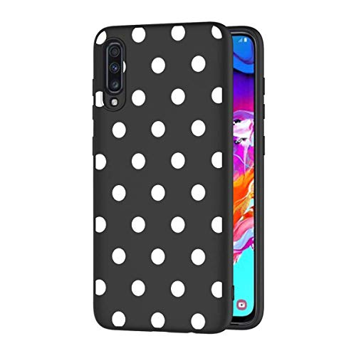 ZhuoFan Funda Samsung Galaxy A70 Cárcasa Silicona Ultrafina Negra con Dibujos Diseño Suave TPU Gel Antigolpes de Protector Piel Case Cover Bumper Fundas para Movil GalaxyA70, Lunares Blanc