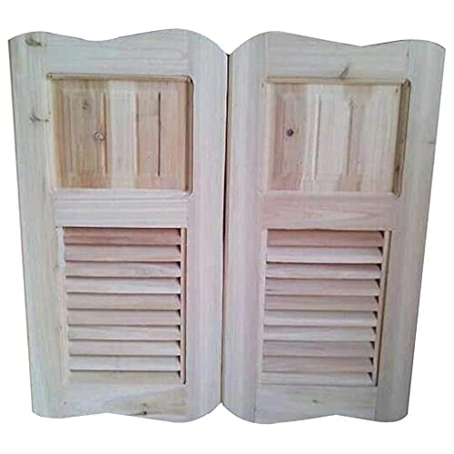 RTSFKFS Interior Doors Hinge Swing Door Cafe Bar Pub Door Half Waist Premium Hinges Automatically Close Kitchen Separation Unpainted Fragrant Fir, Customizable Home Accessories (Size : 90x100cm)