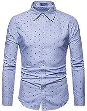 AOWOFS Men's Shirt Long Sleeve Regular Fit Cotton Casual Shi