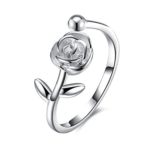 KnBoB Anillos Mujer Plata 925 Anillo Flor Rosa Regalo de Joyería de Mujer - Estilo 4 Talla Ajustable