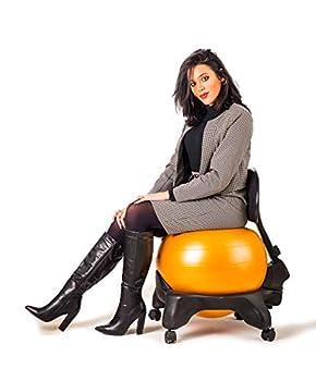 Kikka Plus - Chaise active ergonomique avec ballon gonflable et dossier réglable, noir