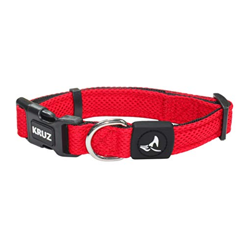 Kruz PET KZA102-14M Mesh Dog Collar for Small, Medium, Large Dogs, Adjustable Neck Collar, Soft, Lightweight, Breathable, Comfort Fit - Red - Medium