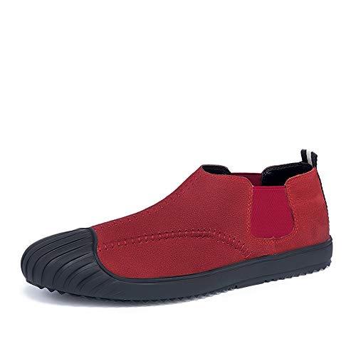 HONG YI-SHOES fietsschoenen mannen rijden Loafers voor bootschoenen slip-on elastische band-echt leer ervaren naden Cap Toe Super Soft Sole Antislip