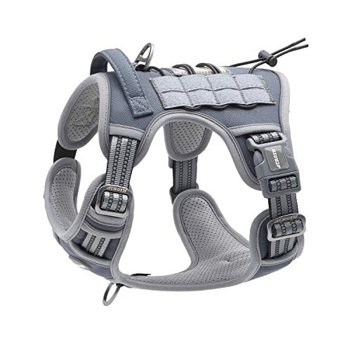 Auroth Tactical Dog Training Harness No Pulling Front Clip Leash Adhesion Reflective K9 Pet Working Vest Easy Control for Small Medium Large Dogs Grey M