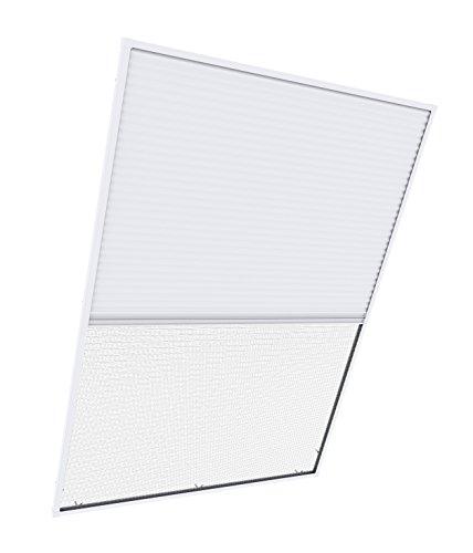 Windhager 04335 Insektenschutz Plissee Fliegengitter Alurahmen, individuell kürzbare Insekten-und Sonnenschutzkombination für Dachfenster 2in1, 110 x 160 cm, weiß, 03966