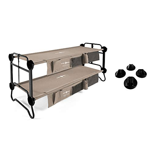 Disc-O-Bed Cam-O-Bunk Bench Double Cot w/ Organizer & No Slip Foot Pads Set of 4
