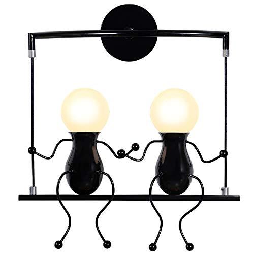 KAWELL Humanoide Creativo Lámpara de Pared Moderno Luz de Pared Apliques de Pared Art Deco Max 60W E27 Base para Habitación para Niños, Dormitorio, Escaleras, Pasillo, Restaurante, Columpio Negro x2