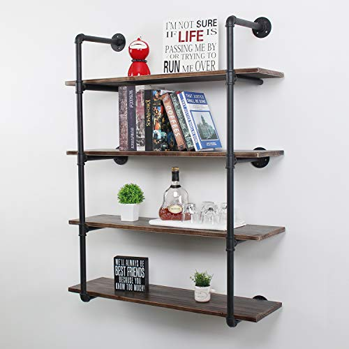 OISSIO Industrial Pipe Wall Shelf,4-Tiers Wall Mount Bookshelf,36in Rustic Wall Mount Shelf,DIY Storage Shelving Floating Shelves,Rustic Pipe Shelving Unit,Wall Book Shelf for Home Organizer