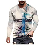 D-Rings Camisa de manga larga para hombre, cuello corto, ajuste regular, tiempo libre, ligera para hombres, gris, XXL