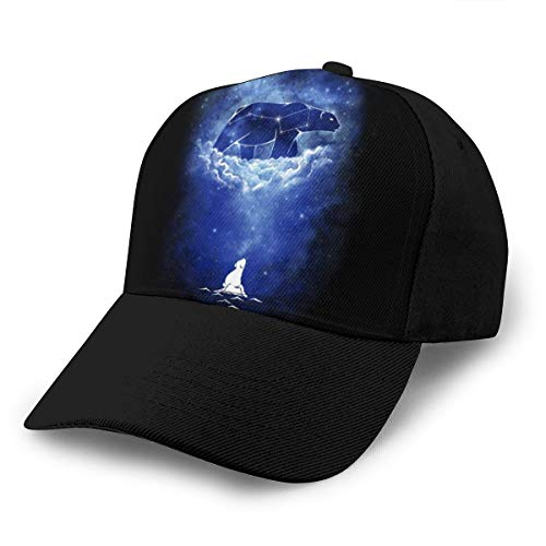 Baseballkappe Sternenhimmel Eisbär Papa Hut verstellbar atmungsaktiv für Männer Frauen schwarz