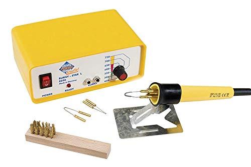 PEBARO 0290 Stazione Professionale Brandmal con pistone e 3 Molle, Regolazione della Temperatura, per Scrivere, disegnare e Bruciare su Legno e Altri Materiali, Giallo