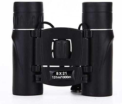 ZXLRH Potentes prismáticos para adultos observación de aves compactos con prismáticos ligeros correa y funda para astronomía de observación de estrellas de larga distancia con zoom (color: negro)