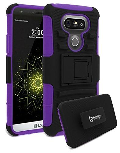 LG G5 Phone Case, Bastex Heavy Duty Hybrid Soft Purple Silicone Cover Hard Black Kickstand Holster Case for LG G5
