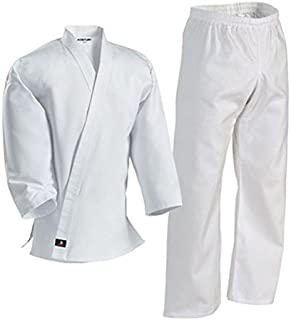 Century Martial Arts White Karate Uniform with Belt Light Weight Elastic Waistband & Drawstring for Adult & Children Size 000-7