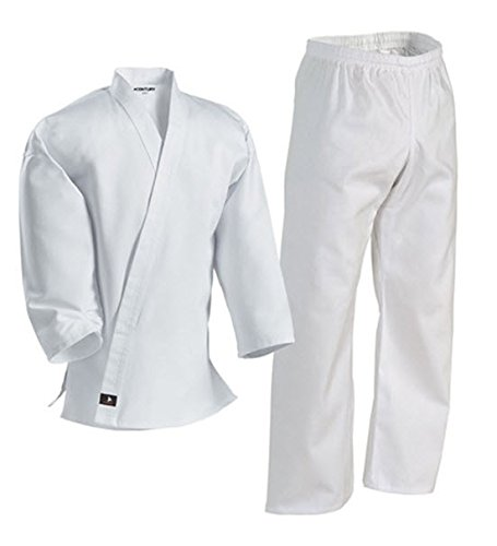 Century Karate Martial Arts Uniform with Belt Light Weight White Cotton Elastic Waistband & Drawstring for Adult & Children Size 000 - 7 (Size 5 170-210lb 5ft 11in - 6ft 2in)