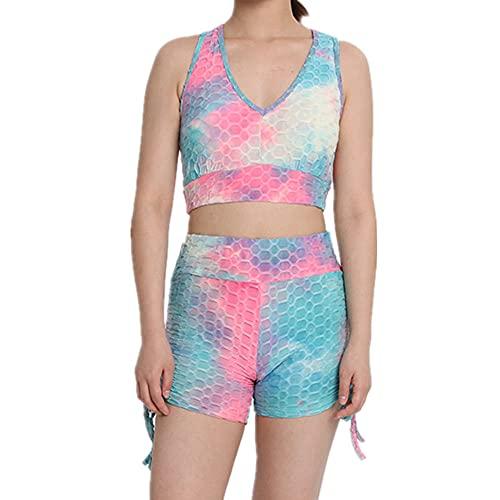 N\P Jacquard chaleco yoga deportes multicolor tie-dye pantalones cortos mujer sujetador conjunto