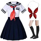 Japanese School Girls Short Sleeve Uniform Sailor Navy Blue Pleated Skirt Anime Cosplay Costumes with Socks Sets(Tag M)
