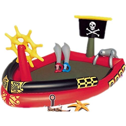 YUESFZ Aufblasbare Pools Großes Piraten-Cartoon-Planschbecken, Bootförmiges Aufblasbares Schwimmzentrum, Ocean Ball Pool Castle Park (Color : Red, Size : 6.2ft)