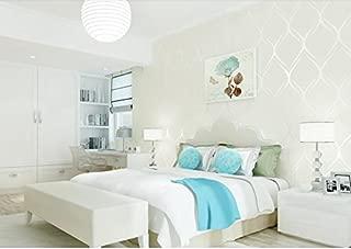 HNZZN 3D Abstract Wallpapers Banda Non-Woven papel de pared gris plata para Salón empapelado texturizado para dormitorio Paredes, Creamy-White, 53cm x 10M