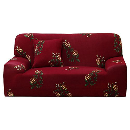uxcell Stretch Sofa Cover Floral Printed Couch Slipcover for Sofas Loveseat Armchair Universal Elastic Furniture Protector with One Pillowcase, Medium