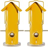 Perky-Pet 2 Pack of Metal Tube Bird Feeders, 12 Ounce Seed Capacity Each, Yellow