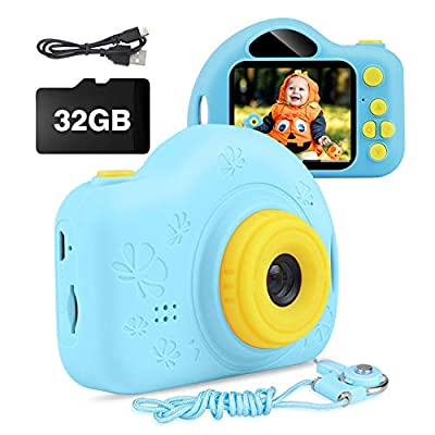 Kids Camera, AIMASON Digital Video Camera Gift for Age 3 4 5 6 7 8 9 10 Year Old Boys, Mini Rechargeable and Shockproof Camera Creative for Little Boys Girls with 32GB SD Card from AIMASON