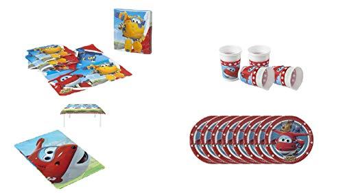 ALMACENESADAN 1076, Pack Fiesta o cumpleaños Superwings; 1 Mantel Fiesta de plástico 120x180cm, 20 servilletas, 8 Vasos Reutilizables y 8 Platos de 20 cm