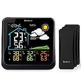 BACKTURE Stazione Meteo Meterologica con 3 Sensore Wireless per Esterni, Touch Screen LCD a Colori/Temperatura umidità/Previsione 24 Ore/Indicatore Comfort/Sveglia per Giardino Domestico Ufficio
