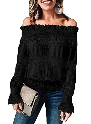 Blibea Women's Elegant Lace Off Shoulder Tops Ruffle Sleeve Smocked Waist Lace Crochet Blouse Shirts Large Black