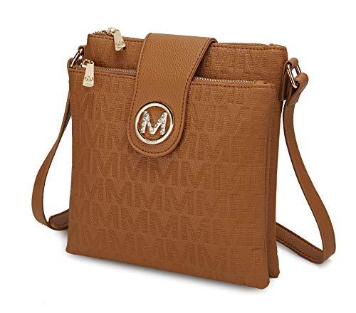 Bolsas transversais MKF para mulheres – tiras transversais, bolsa carteiro – bolsa de couro PU, bolsa feminina moderna, Tan Brown Marietta, Medium