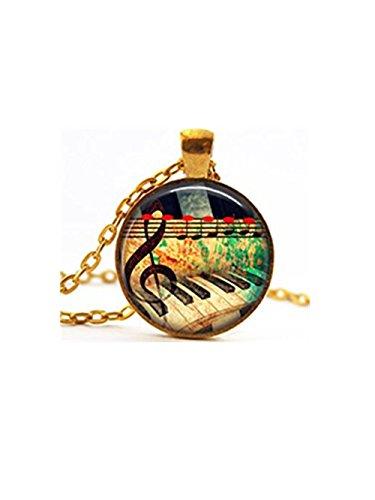 Collar de oro con música y teclado de piano, collar con nota musical de piano, collar con sonido de música, regalo para pianista, joyería de músico