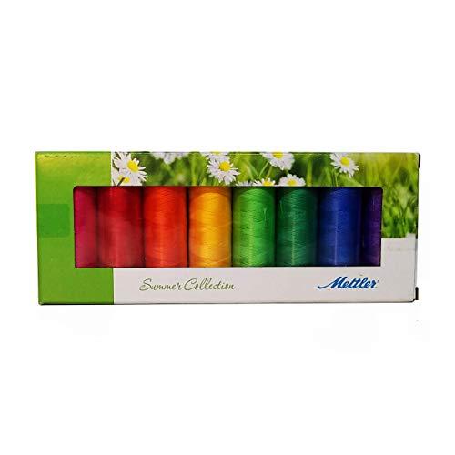 Mettler Nähset aus 100 % merzerisierter Baumwolle, 8 Spulen, Sommerfarben