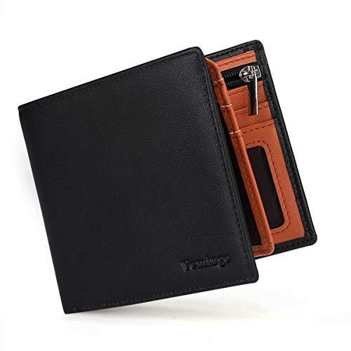 Vemingo Portefeuille Homme Porte Monnaie Classique avec Blocage RFID Etui à Carte Crédit | Portefeuille en Cuir PU à Fermeture Eclair, Noir et Orange