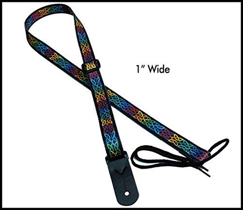 """Legacystraps 1"""" Strap for A & F type Mandolin, Ukuleles and Guitars in Celtic Knot Multicolor with 1 end tab"""