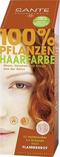 SANTE Naturkosmetik Pflanzen-Haarfarbe Pulver, Flammenrot, 100g