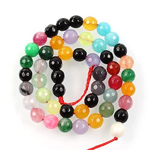 Piedra natural facetada multicolor encanto colorido redondo cuentas sueltas para hacer joyas aguja pulsera DIY Strand 4-12 Mm H7230 10mm aproximadamente 38pcs