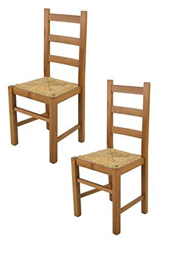 Tommychairs - Set 2 sillas Rustica para Cocina y Comedor, Estructura en Madera de Haya Color Roble y Asiento en Paja