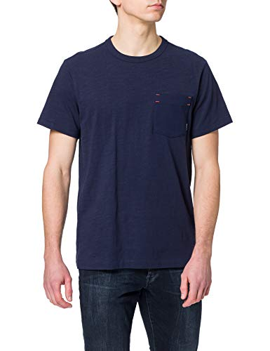 G-STAR RAW Contrast Mercerized Pocket Camiseta, Sartho Blue B255-6067, XL para Hombre