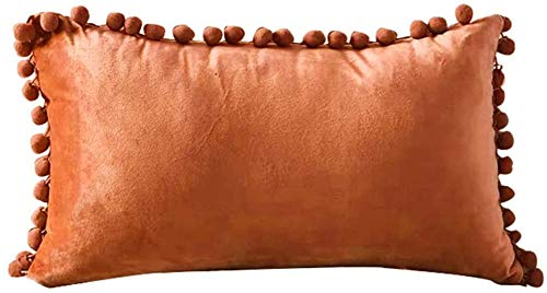 Paelf Nordic velvet ball pillow sand bedside back cushion creative pillow simple hair cushion office lumbar cushion,Orange-12 * 20 inches