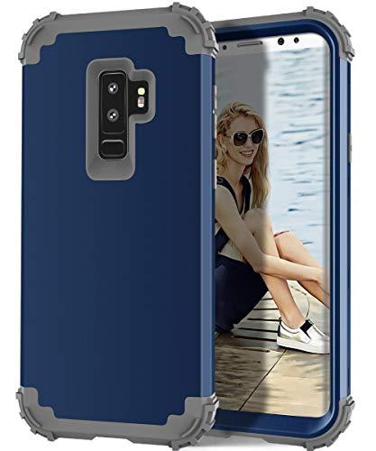 Hülle für Galaxy S9 Plus 3 in 1 PC+ Silikon 360 Grad Voll Schutz Full Body Bumper Handy-Hülle Case Back Cover für Galaxy S9 (Galaxy s9, Blau)
