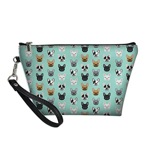 Mobile Klimageräte Mäppchen Lustige Mops Dog Make-up wasserdichte Kosmetiktasche Kulturbeutel Reisetasche mit Griff für Frauen (Color : Bulldog+Blue)