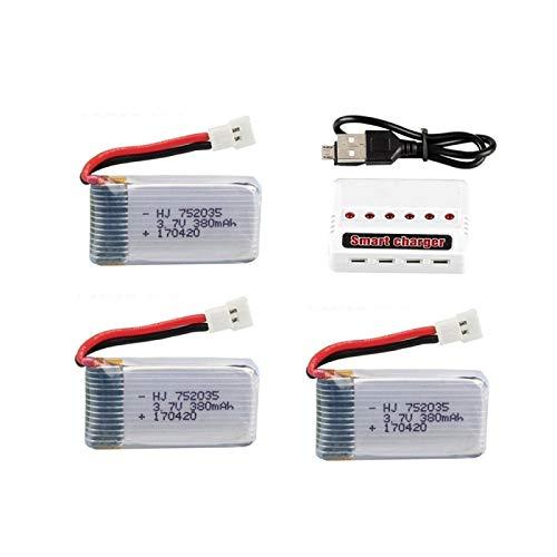 RFGTYH Batería lipo de 3,7 V 380 mAh y Juego de Cargador 6 en 1 para Hubsan X4 H107 H107L H107D JD385 JD388 Piezas de helicóptero RC 752035 Batería Gold