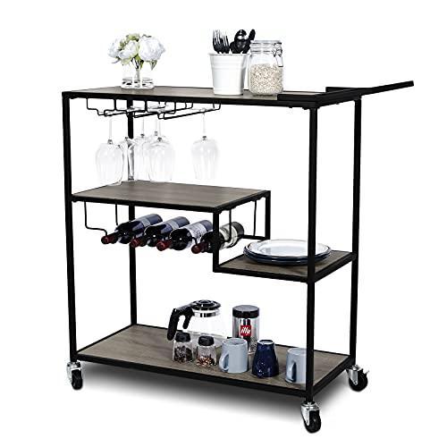 KATDANS Carros de bar industriales para el hogar, gabinete de cocina de almacenamiento de 4 niveles, carro de servir con estante de vino, marco de metal, roble envejecido, KS015