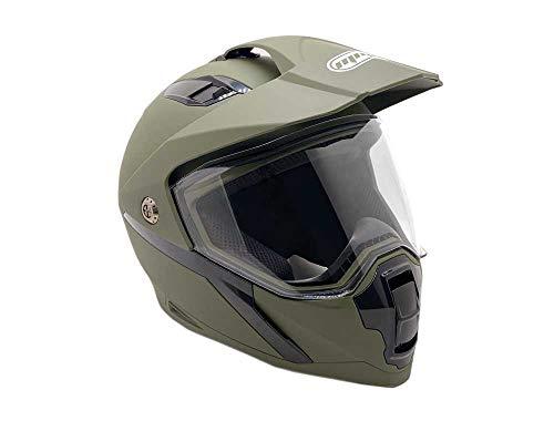 MMG Helmet Dual Sport Off Road Motorcycle Dirt Bike ATV - FlipUp Visor - Model 23 (S, Matte Green)
