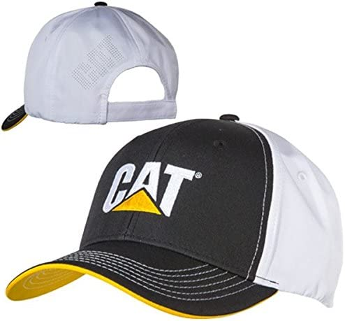 Caterpillar CAT Equipment Black & White Microfiber w/Yellow Under Visor Hat/Cap