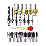 Wuudi Bohrwerkzeuge Set, 23 Stück Holzbearbeitungswerkzeuge mit 6 x 90° Kegelsenker Ø 6-19 mm Senkbohrer, 8x Holzdübel-Schneider, 7 x Holz Hohlkehle mit L-Schraubenschlüssel, 1 x Automatik Körner