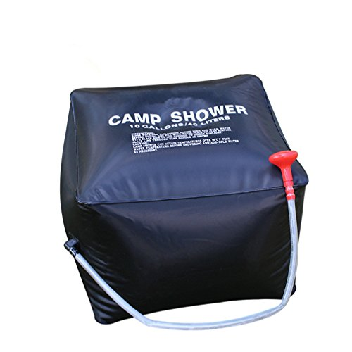 CFtrum Bolsa Ducha Solar 40L PVC Plegable Portátil para Camping Excursión Al Aire Libre Color Negro