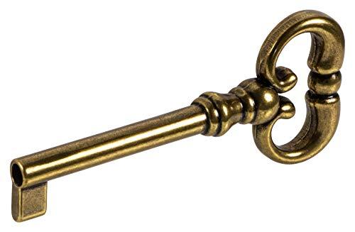 Gedotec Bartschlüssel Schrank Bunt-Bartschlüssel für Möbel-Schloss Ersatz-Schlüssel Deko - MOZART | 35 mm | Metall braun brüniert durchgerieben | 1 Stück - Design Möbelschlüssel Antik für Schubladen