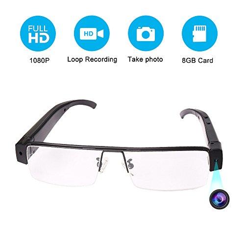 Mofek 8 GB 1920 x 1080P HD versteckte Kamera Brille Spy Cam DV-Brille Camcorder mit Audio-Aufnahmefunktion